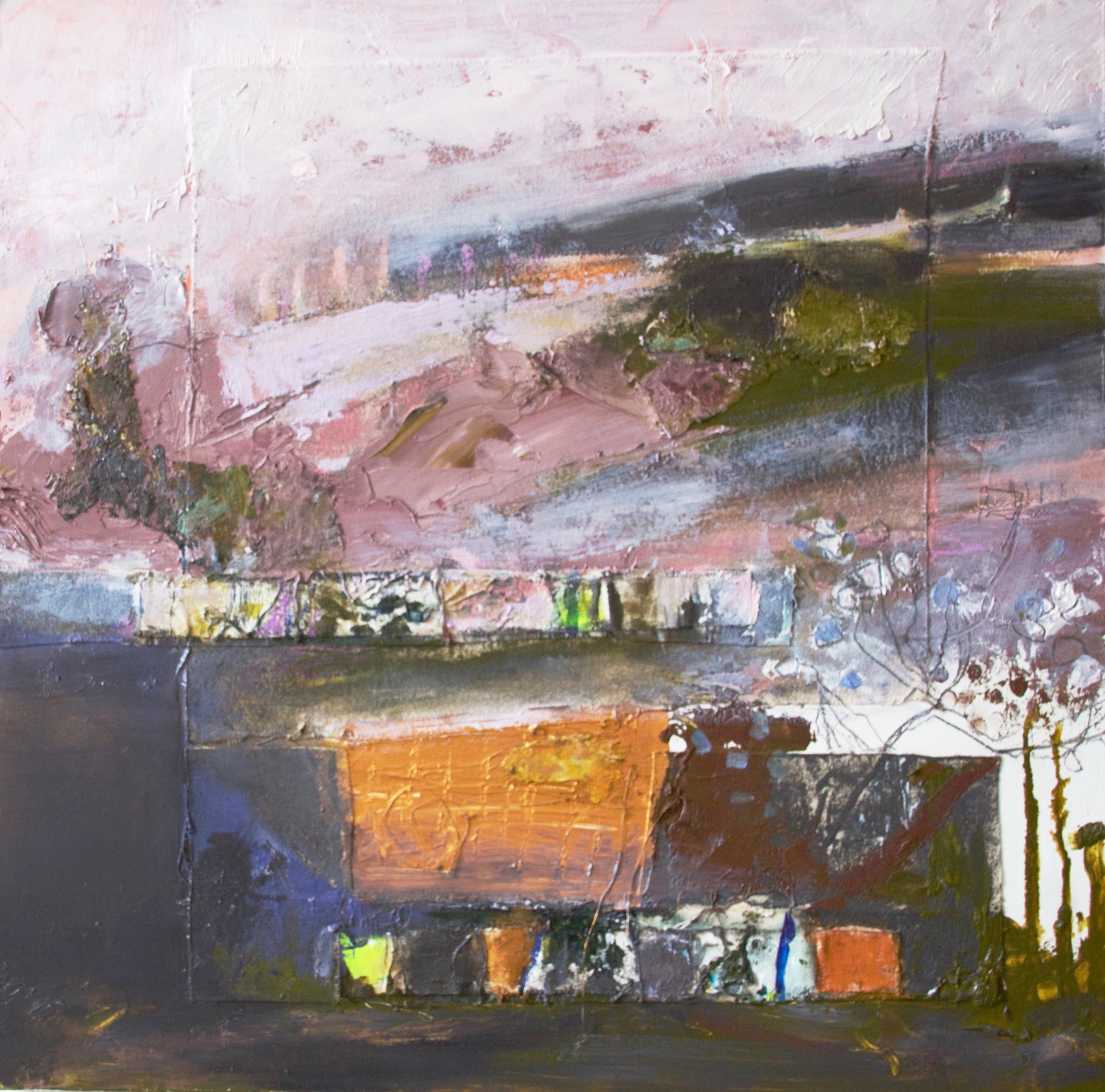 Whitehorse Hill Secret Space    mixed media on board with collaged canvas  elements  60 x 60 cm
