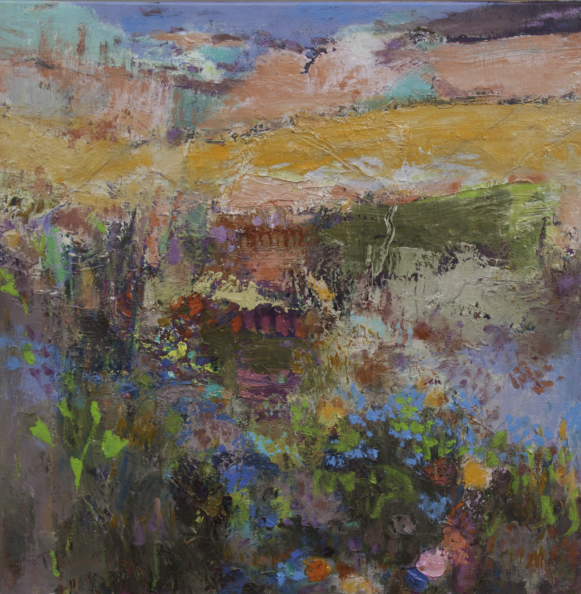 Flowers in the Meadow  oil on canvas  50 x 50 cm  Showing at the Lantic Gallery