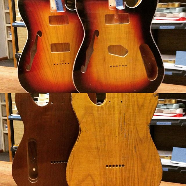 VTTs up. Ash tops but one has an alder back and the other an ash! Both with pretty 3-tone tops!