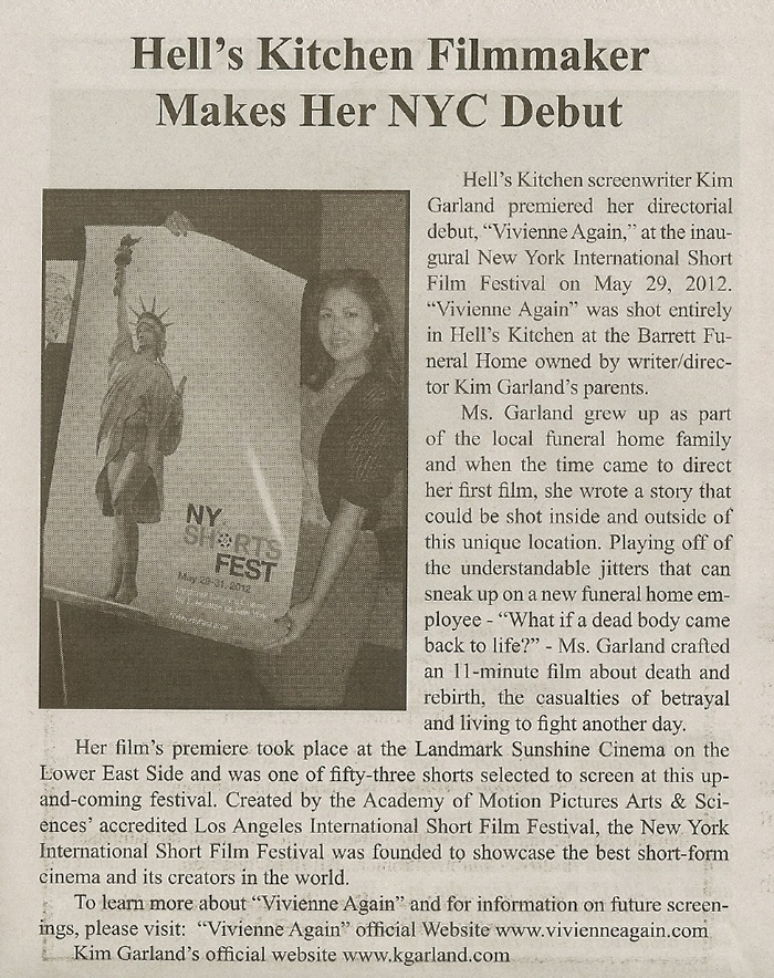 """Clinton Chronicle  newspaper: """"Hell's Kitchen Filmmaker Makes Her NYC Debut"""" June 2012"""