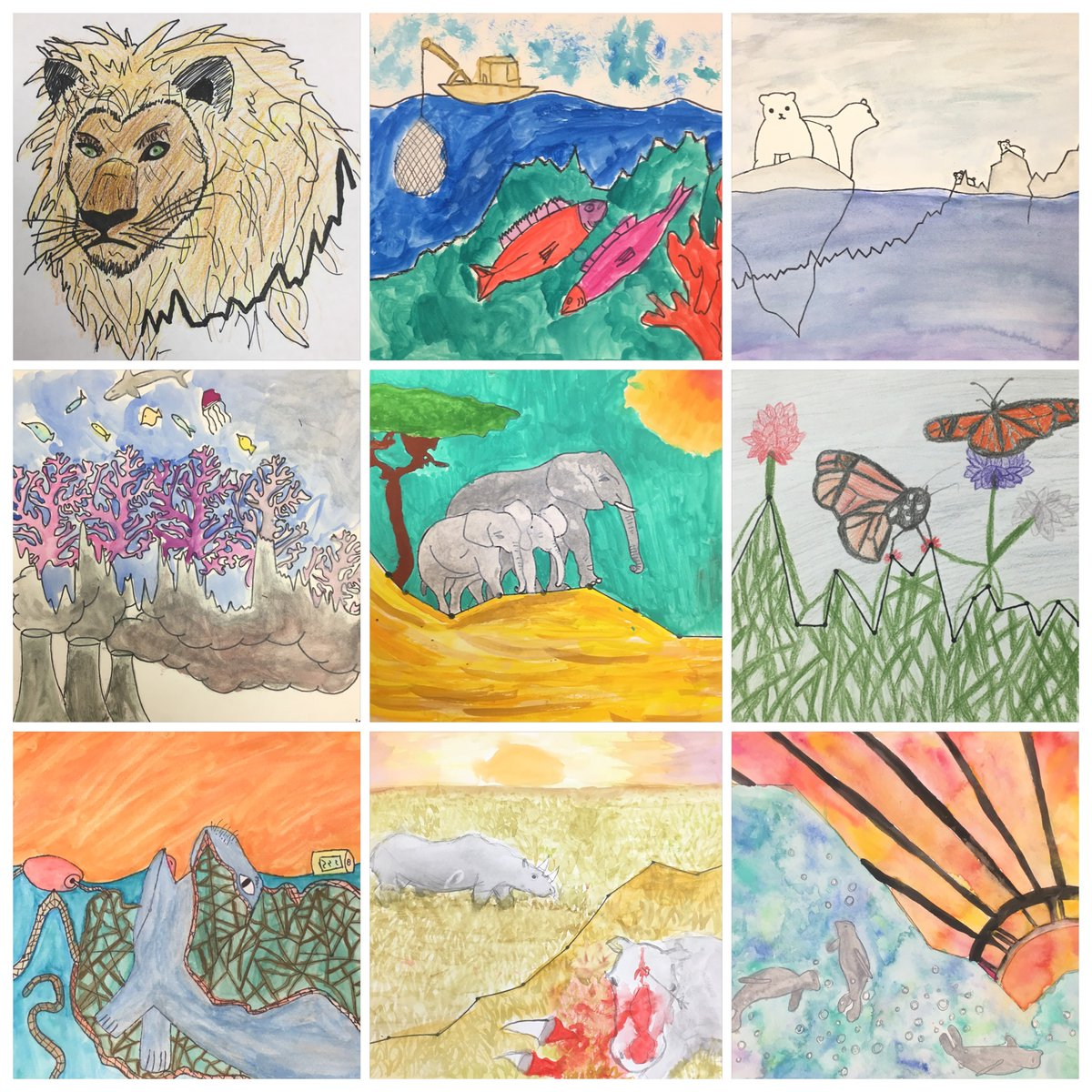 6th Grade students graphical artwork from Kailua, HI