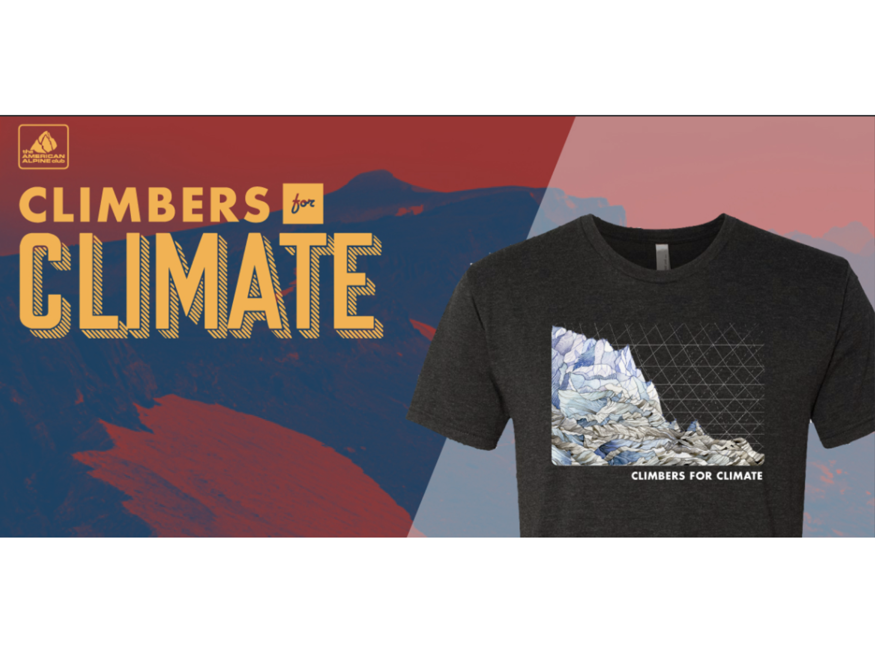 Decrease in Glacier Mass Balance silk-screen T-Shirt featured for American Alpine Club's  Climbers for Climate  campaign. Available through June 2019