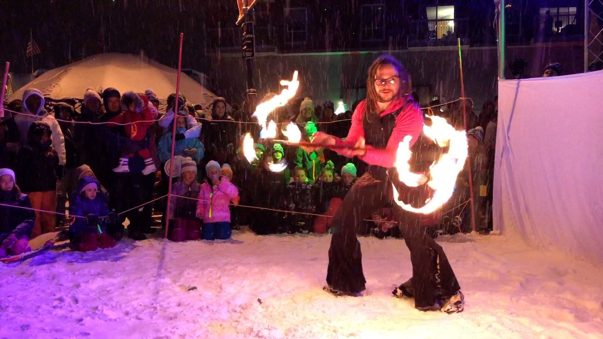 Fire Dancer Performing at Big White Light up Event 2017