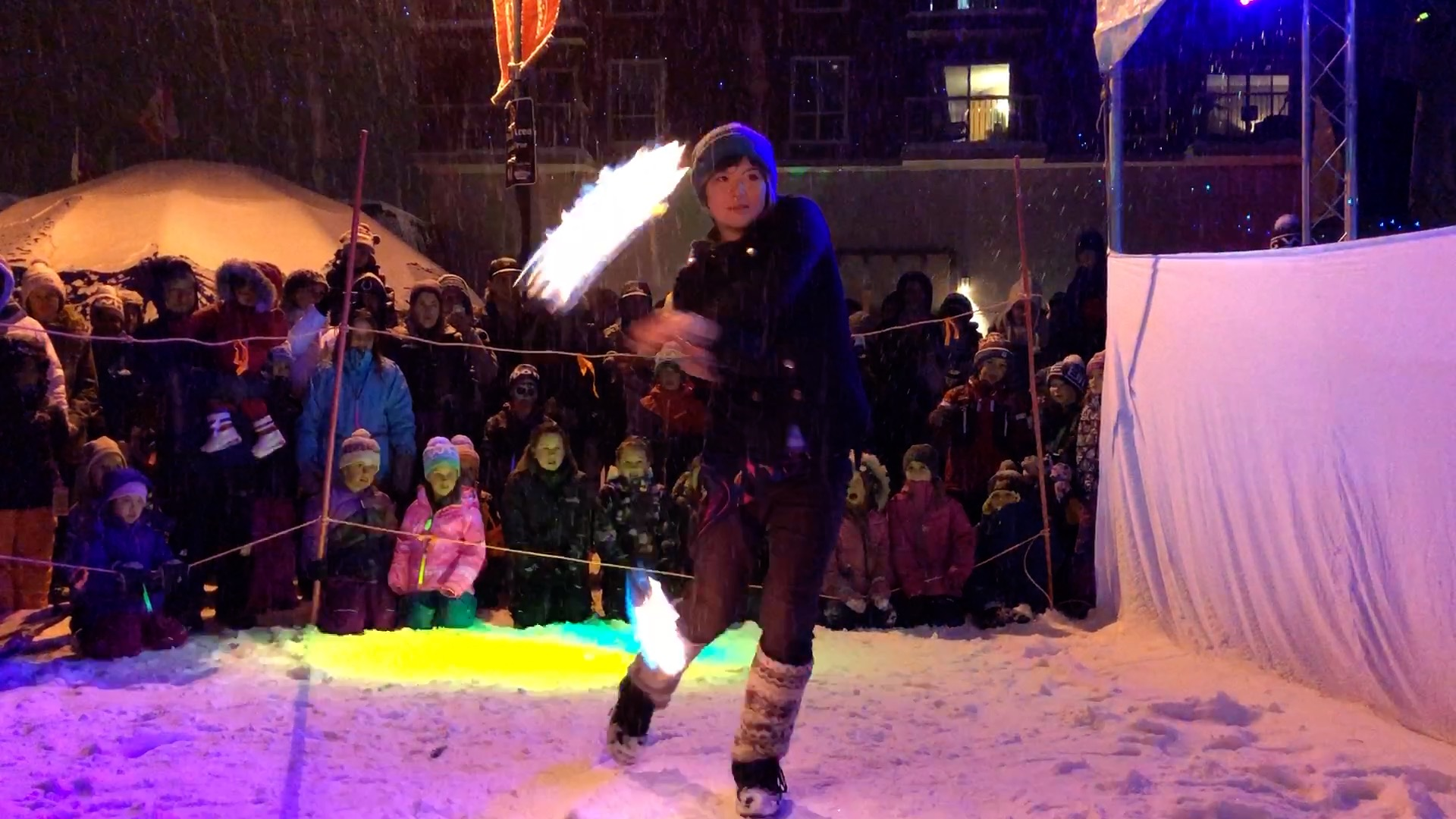Fire Dancer Performing at Big White Light Up 2017