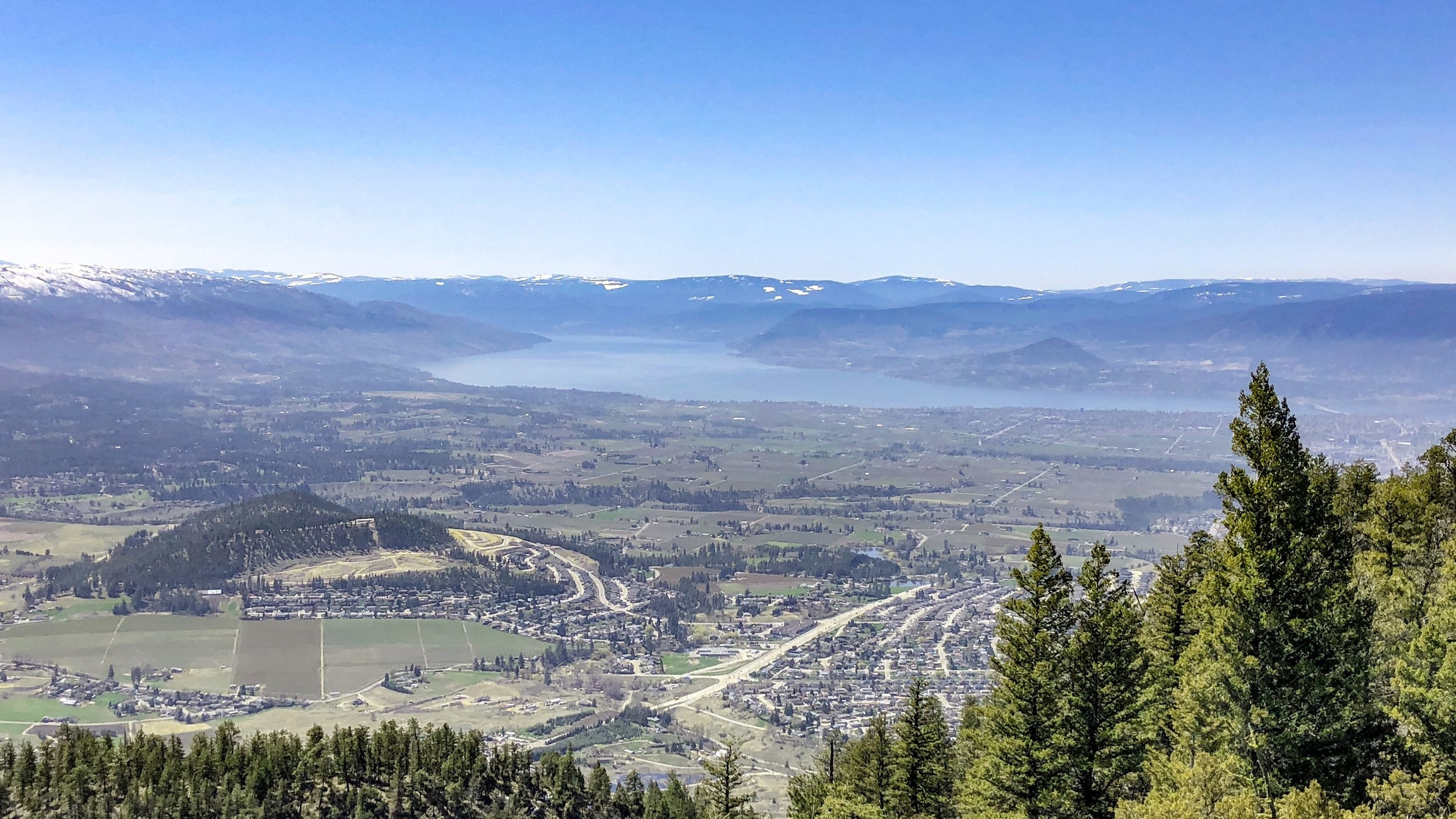 The Okanagan Valley, City of Kelowna, viewed from the top of Black Mountain showing Black Mountain neighbourhood and  Kirschner Mountain in the foreground , vineyards and orchards of Southeast Kelowna, Okanagan Lake, and mountains in the background.