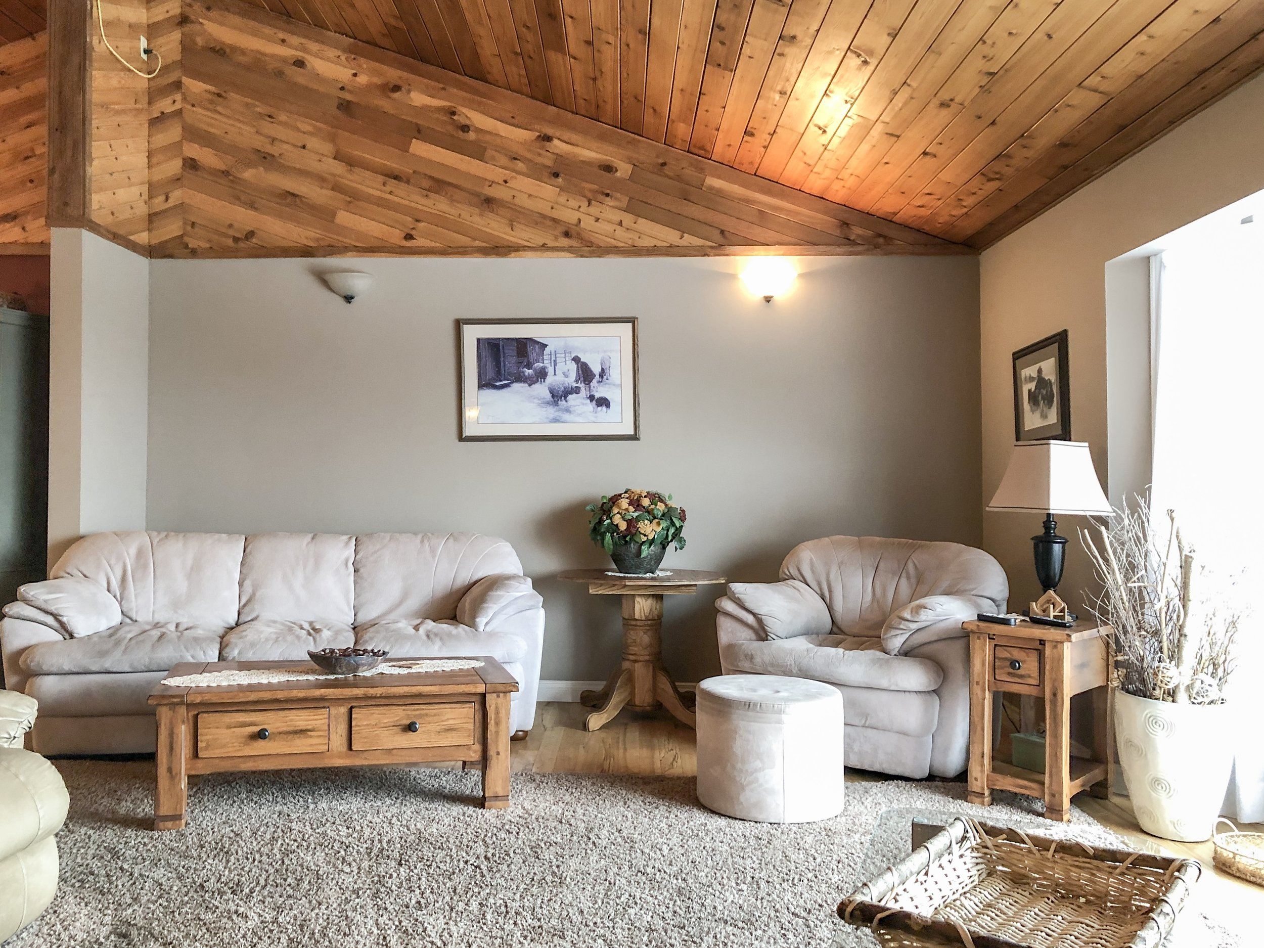 Living Room with Rich Wood Ceiling