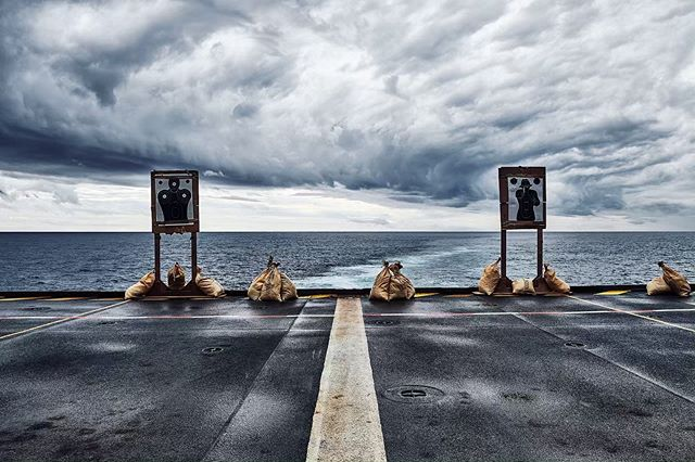 Gloomy shooting range view on the hangar deck of a helicopter carrier, way out on the Atlantic ocean • • • • • #gloomy #ship #skyback #cloudy #overcast #cloud_skye #insta_sky_lovers #skies #instaclouds #cloud #horizon #instasky