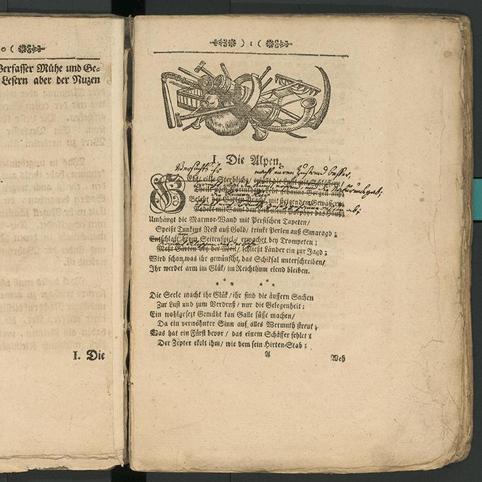 Albrecht von Hallers «Die Alpen» aus «Versuch von Schweizerischen Gedichten», Bern, 2. Auflage, 1734, liegt in der Berner Burgerbibliothek zur Ansicht auf. (Bild zVg)