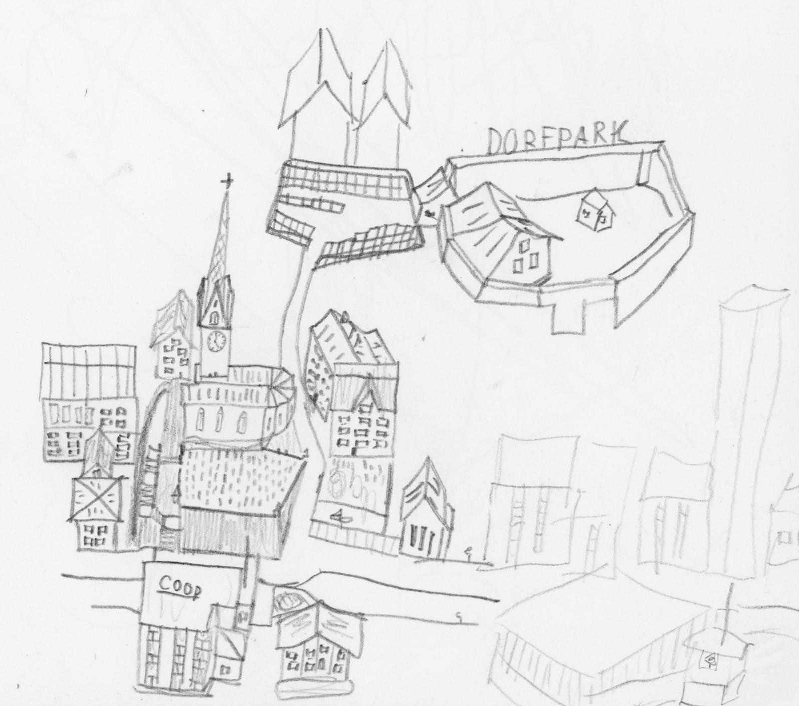 Die Kinderzeichnungen in diesem Beitrag stammen vom Autor. Sie entstanden anfangs der 1990er-Jahre im Alter von 10 bis 12 Jahren und zeigen erfundene Fantasiedörfer, inspiriert von zahlreichen Reisen in Bündner Dörfer.   Alle Zeichnungen: Copyright Donat Caduff