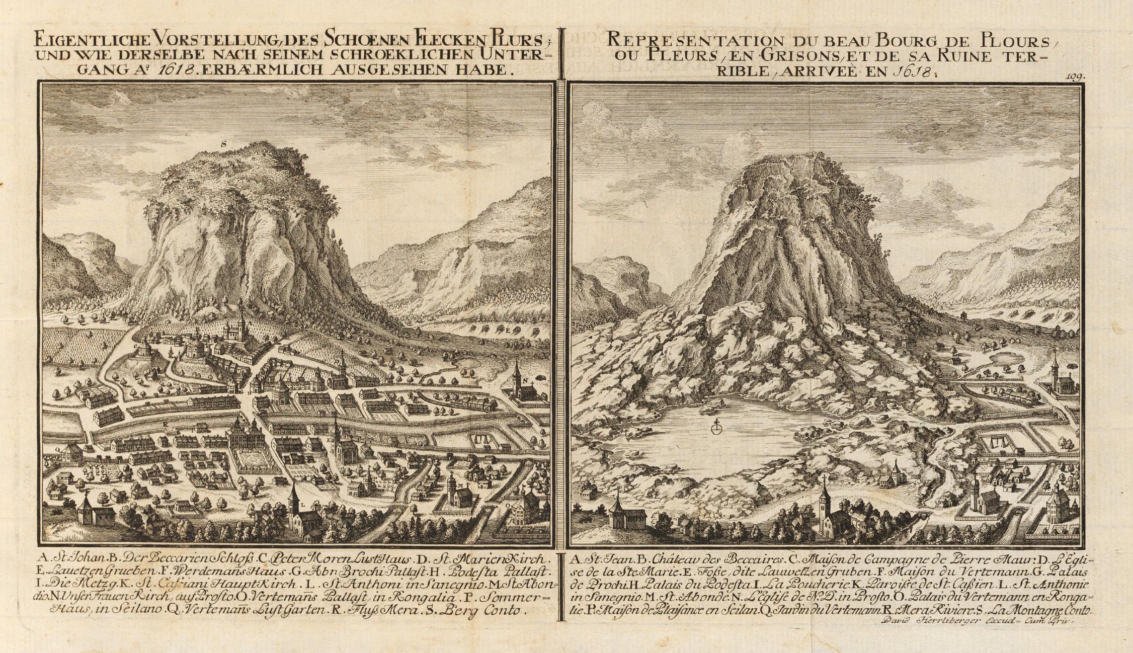 Vorher-Nachher-Bild von Piuro in David Herrlibergers  Topographie der Eydgnoßschaft  von 1756.  zVg