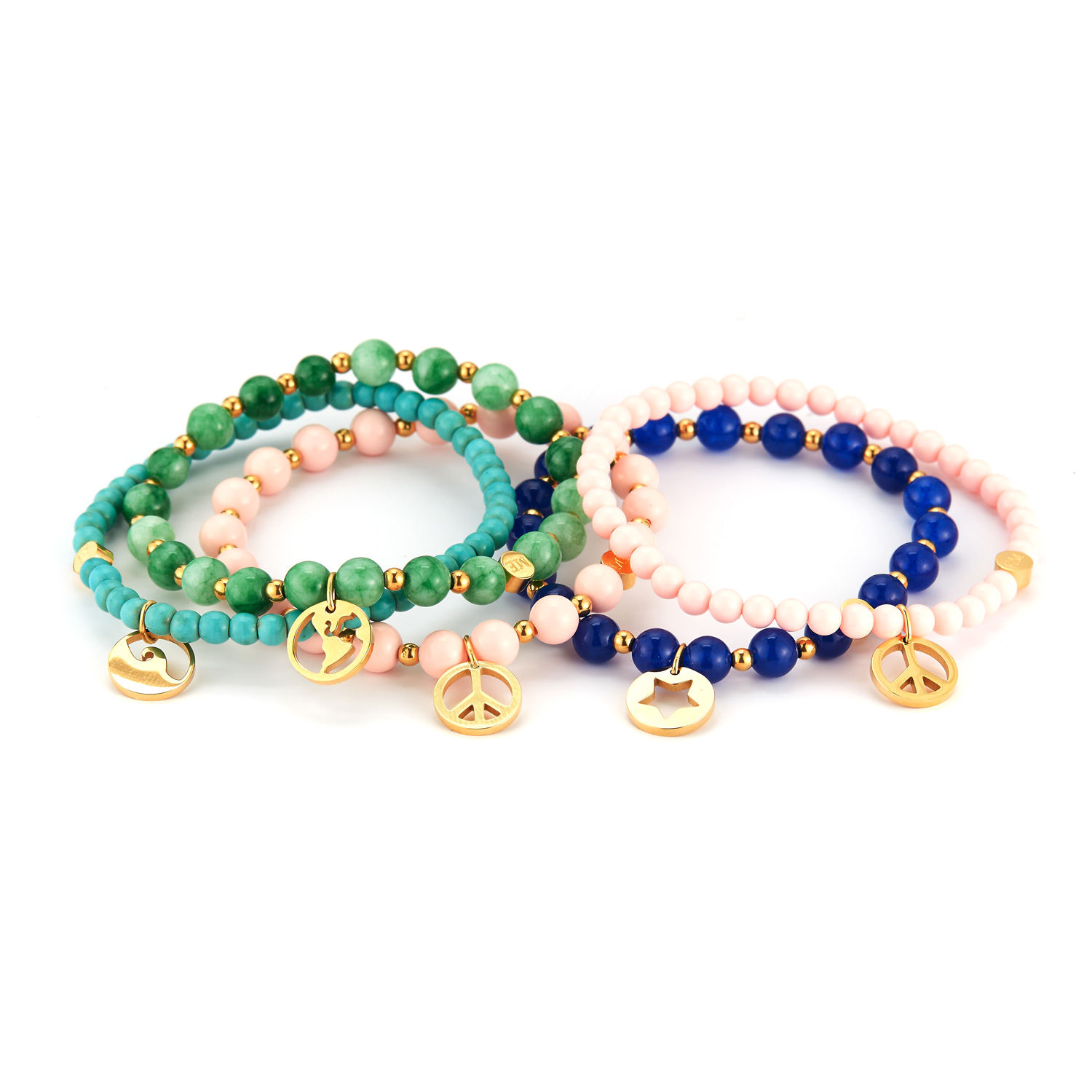 Stone bead bracelets with meaningful charms