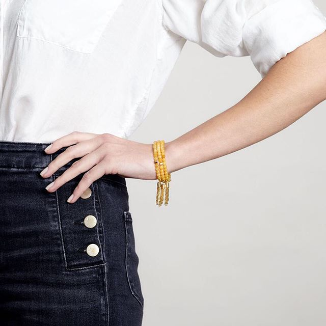 Saturday style - and really, this outfit will work any day and all day ( and night ). Love how fab our tassel bracelets look stacked! #meandemforgood#forgood#stacked#saturdaystyle