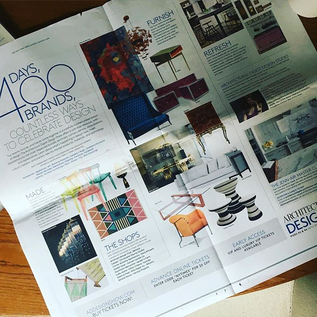 Proud to be featured in The New York Times insert promoting the @addesignshow and excited to be representing the #matstheselius collection by @collection_kallemo. Visit addesignshow.com to purchase a ticket.