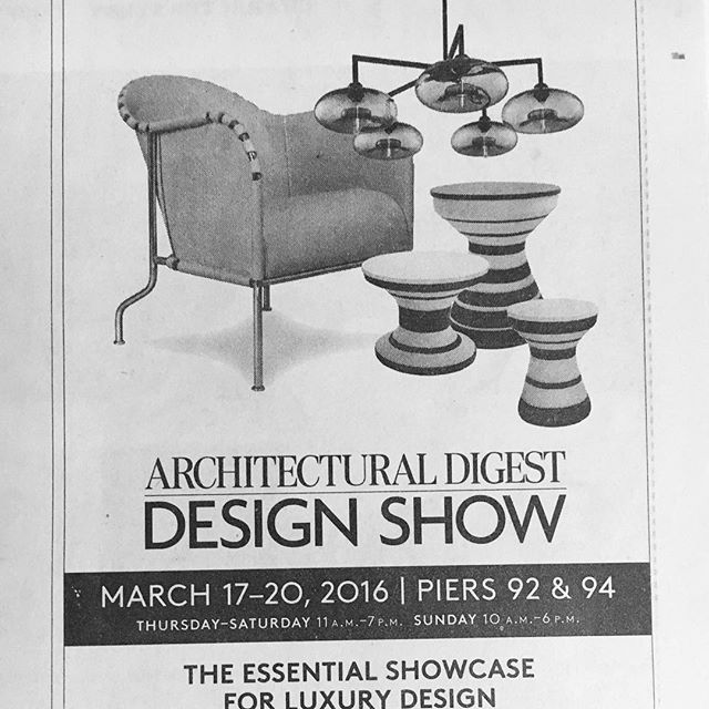 Excited to be included in such wonderful company, with @nichemodern And @tuckerrobbins In the @addesignshow ad in this past weekend paper. #matstheselius @collection_kallemo #lsmdnyc