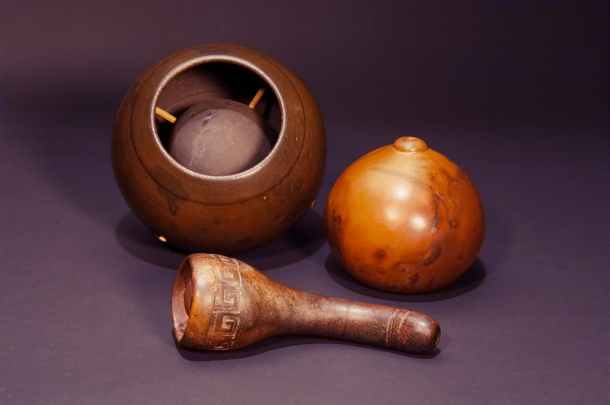 Clay wind whistles by Rod Kendall.  Photo by Bill Hagstotz.