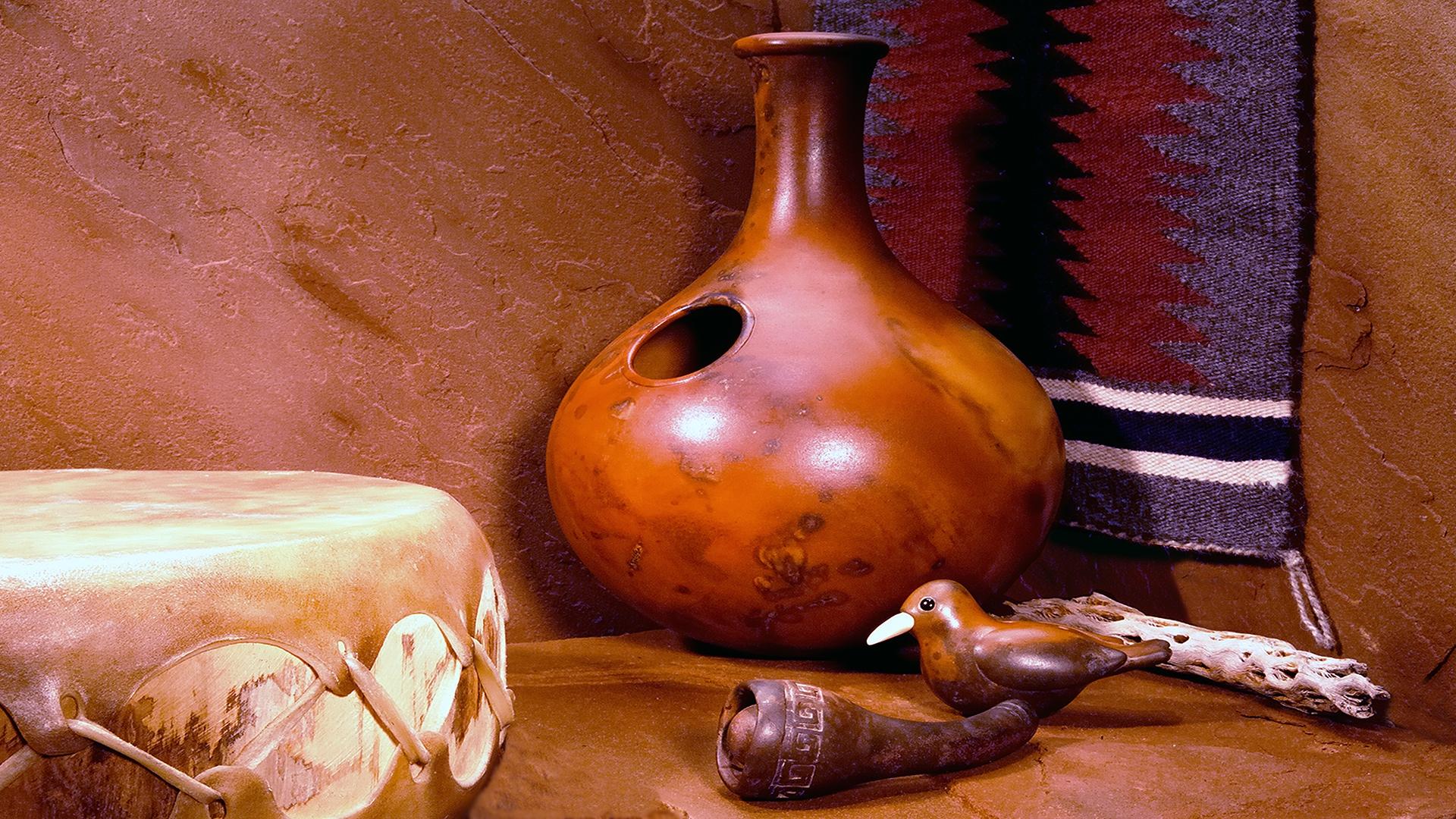 African clay Udu drum & clay bird calls by Rod Kendall.  Photo by Bill Hagstotz.