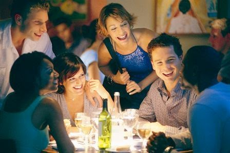 Happy restaurant guests