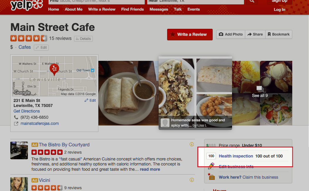 Health inspection scores on Yelp