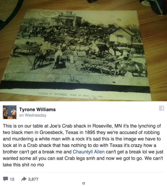 Tyone Williams and Chauntyll Allen noticed the lynching photograph at Joe's Crab Shack recently.