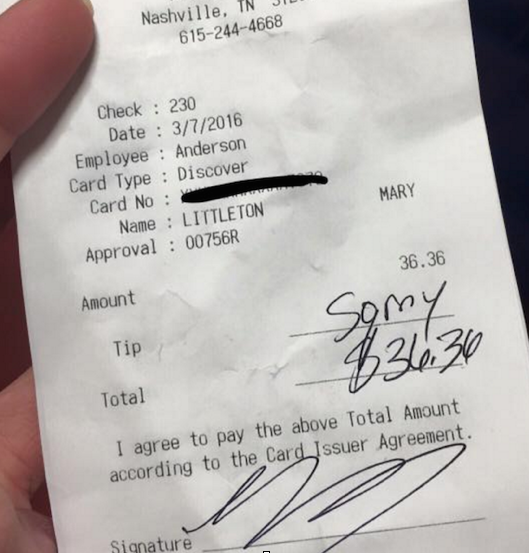 Tennessee State Representative Mary Littleton stiffed her waitress on a tip while visiting Hooter's recently.