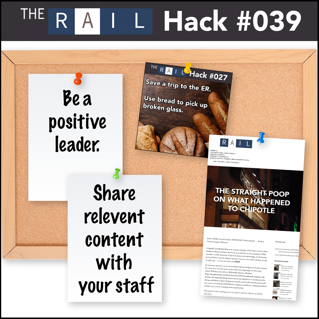 Restaurant management tip: Share content with your staff to better their performance and knowledge of important industry issues.