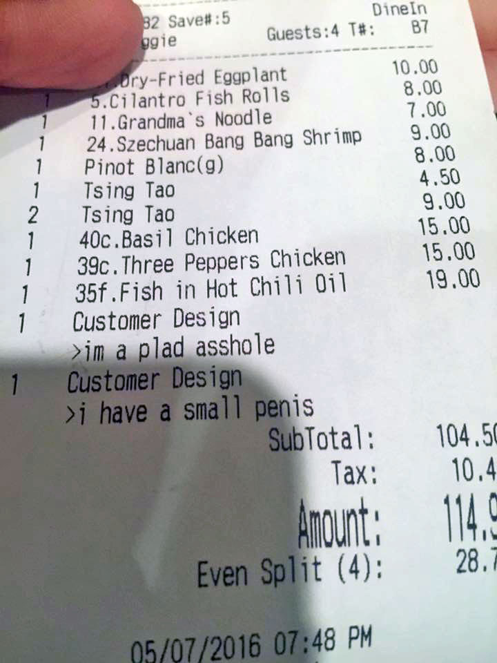 Peter Chang fired four of his servers, including his daughter, for leaving horrible insults on guest's checks