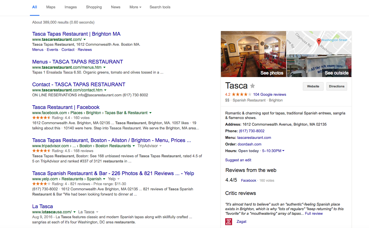 Google's From the Menu feature is absent on desktop local search
