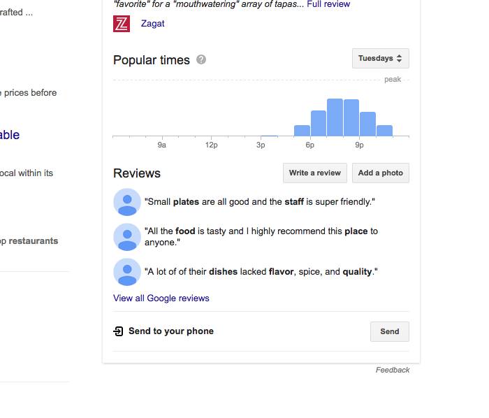 Diners can also leave restaurant reviews on Google's local search.