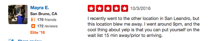 Nowait's feature on Yelp leads to amazing guest experiences and better reviews.