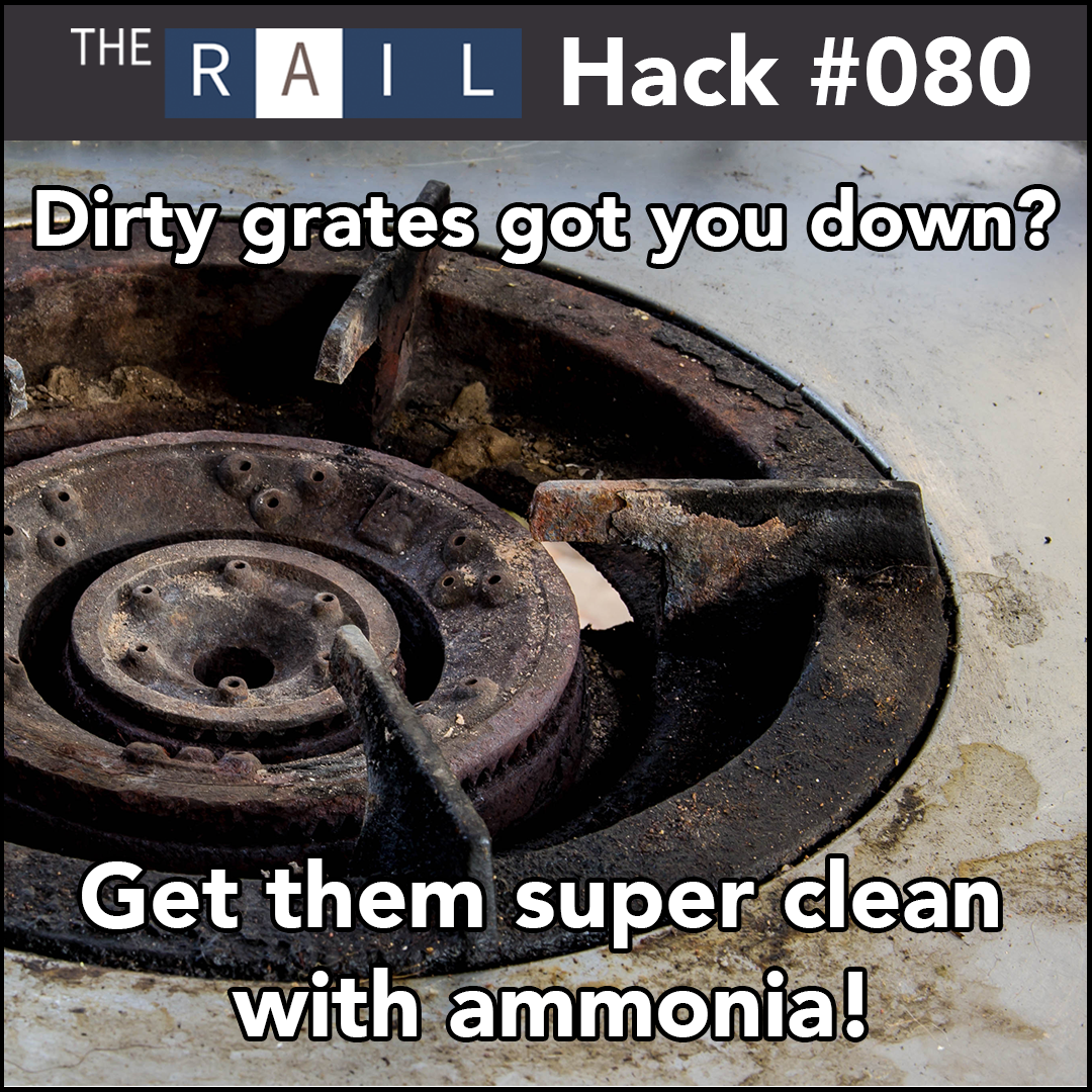Restaurant kitchen cleaning tip: Use ammonia to clean grimy stove grates.