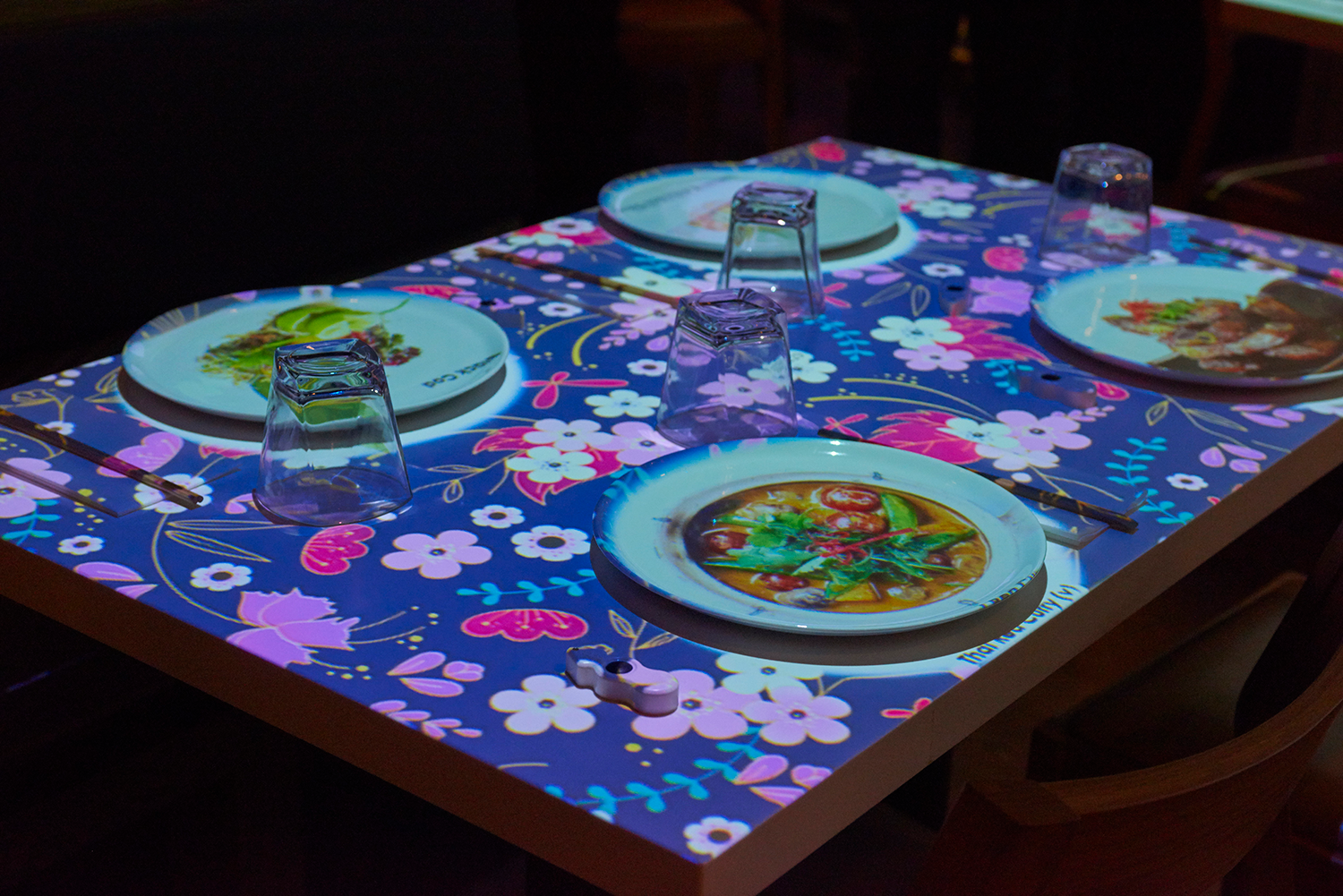 """inamo guests can also choose the look and feel of their """"table cloth."""""""