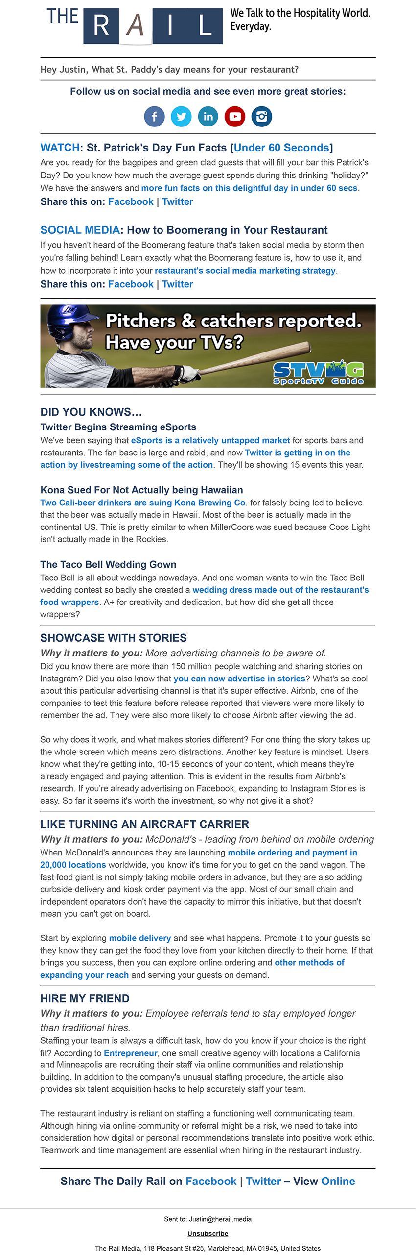 Sample  Daily Rail  email.