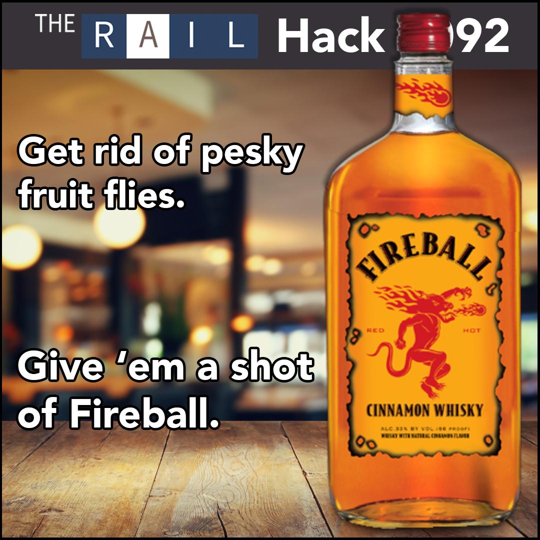 Restaurant bartender tip: Use Fireball whiskey to make a fruit fly trap.