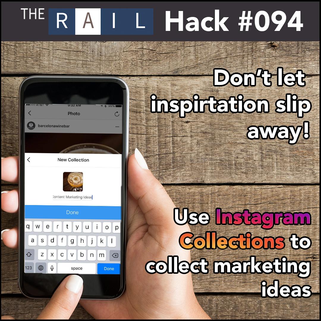 Restaurant social media marketing tip: Use Instagram Collections to collect restaurant marketing ideas.