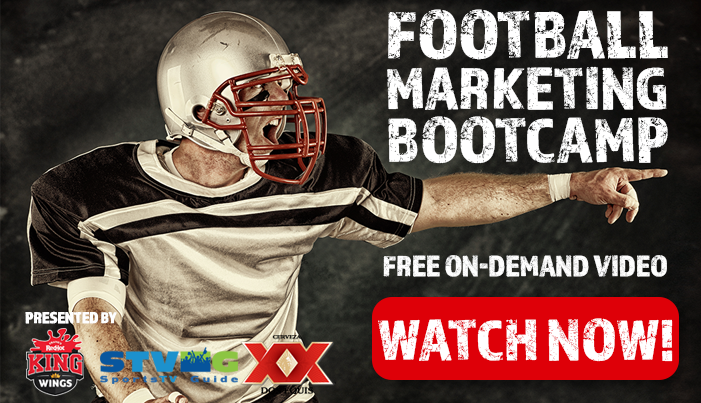 Watch the Football Marketing Bootcamp to get sports bar promotion/marketing ideas.