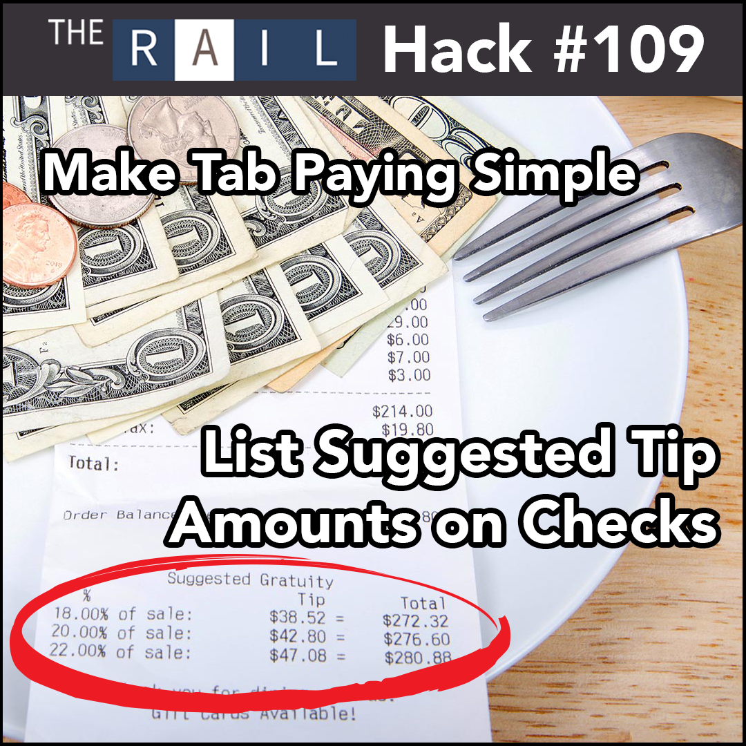 Restaurant Guest Tip: List suggested tip amounts to make the check paying process faster