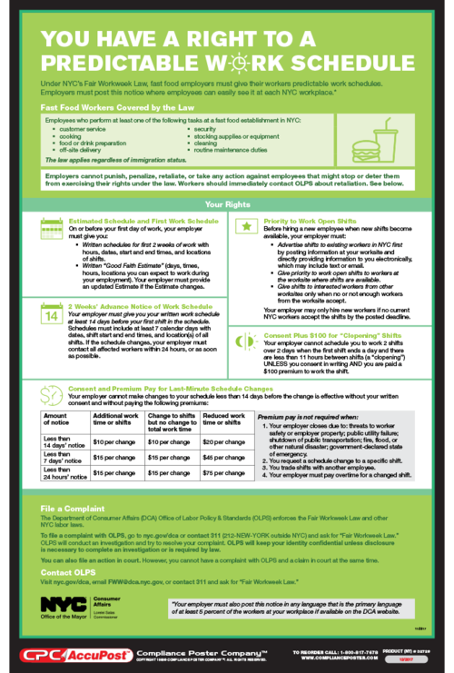 NYC Fair Workweek Law Compliance sheet