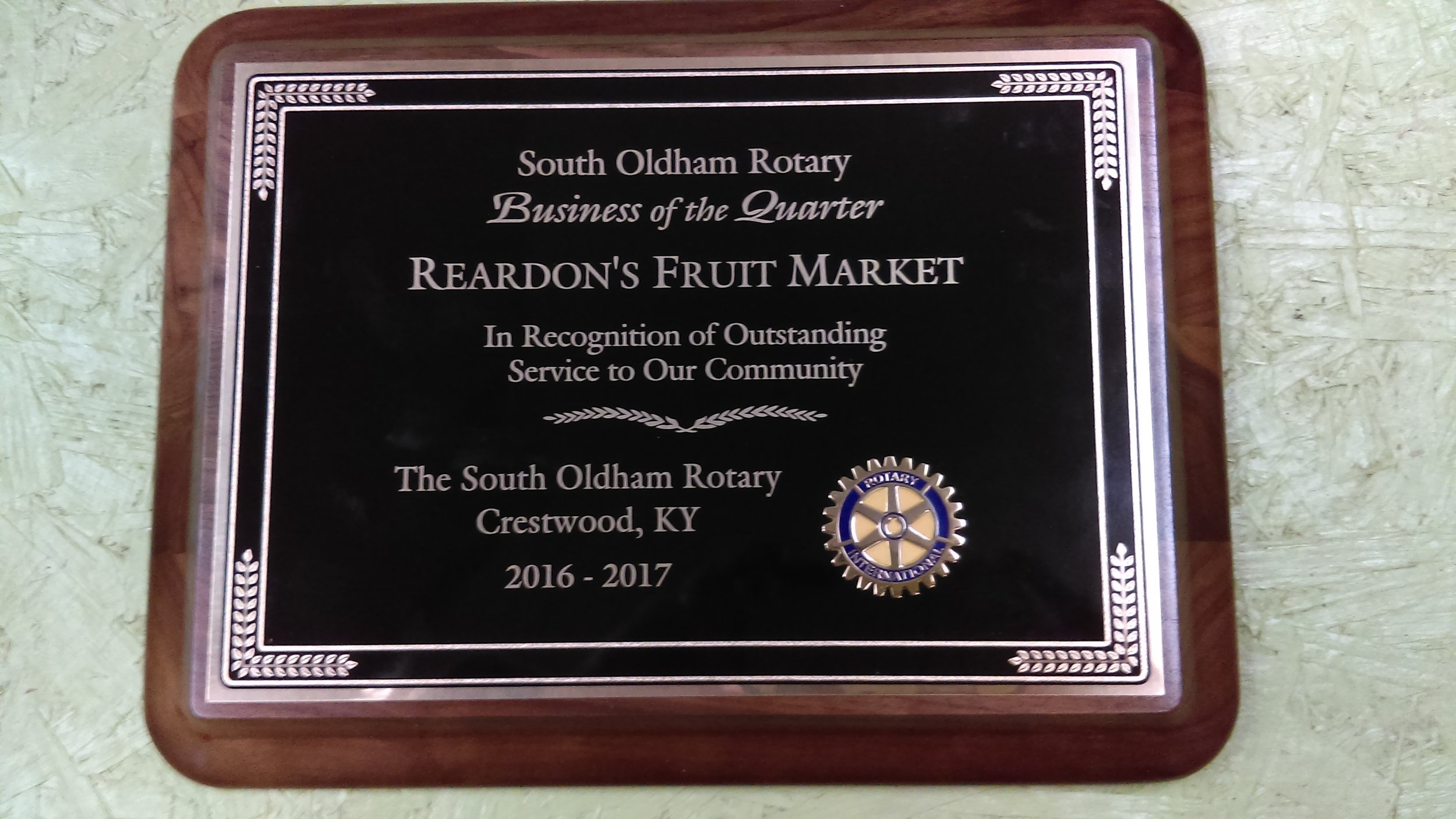 - Reardon's received the Business of the Quarter award from the Rotary Club.