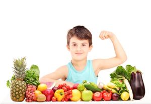 Boy and veggies