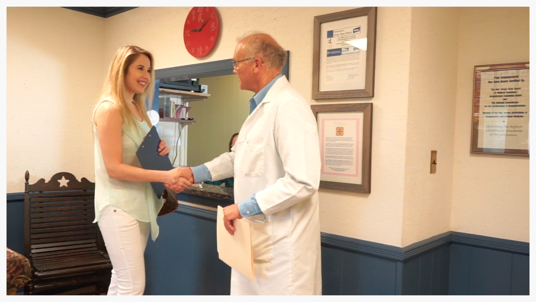 Our practitioners   meet new patients in the ACNJ waiting room, to welcome you in!
