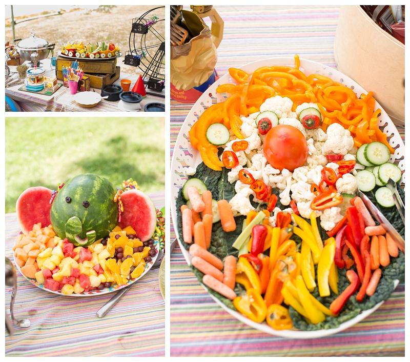 Elephant fruit salad, Clown veggies and Veggie train!!