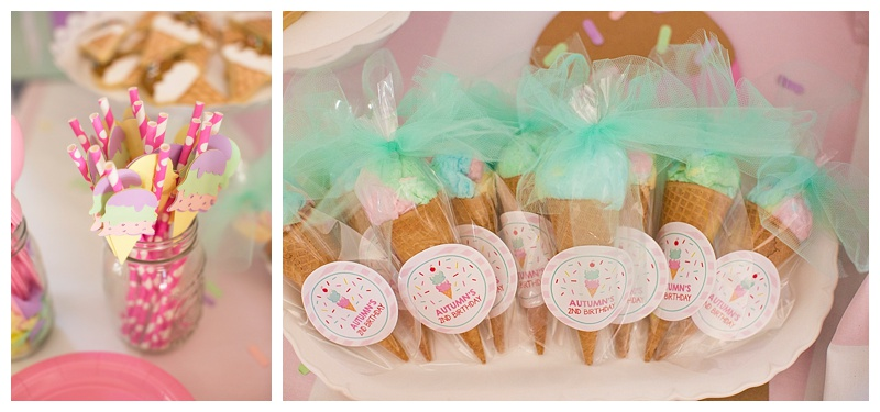 There wasn't a detail missed! Even the straws matched the theme! And how cute are these party favors!!! Cotton candy cone anyone?