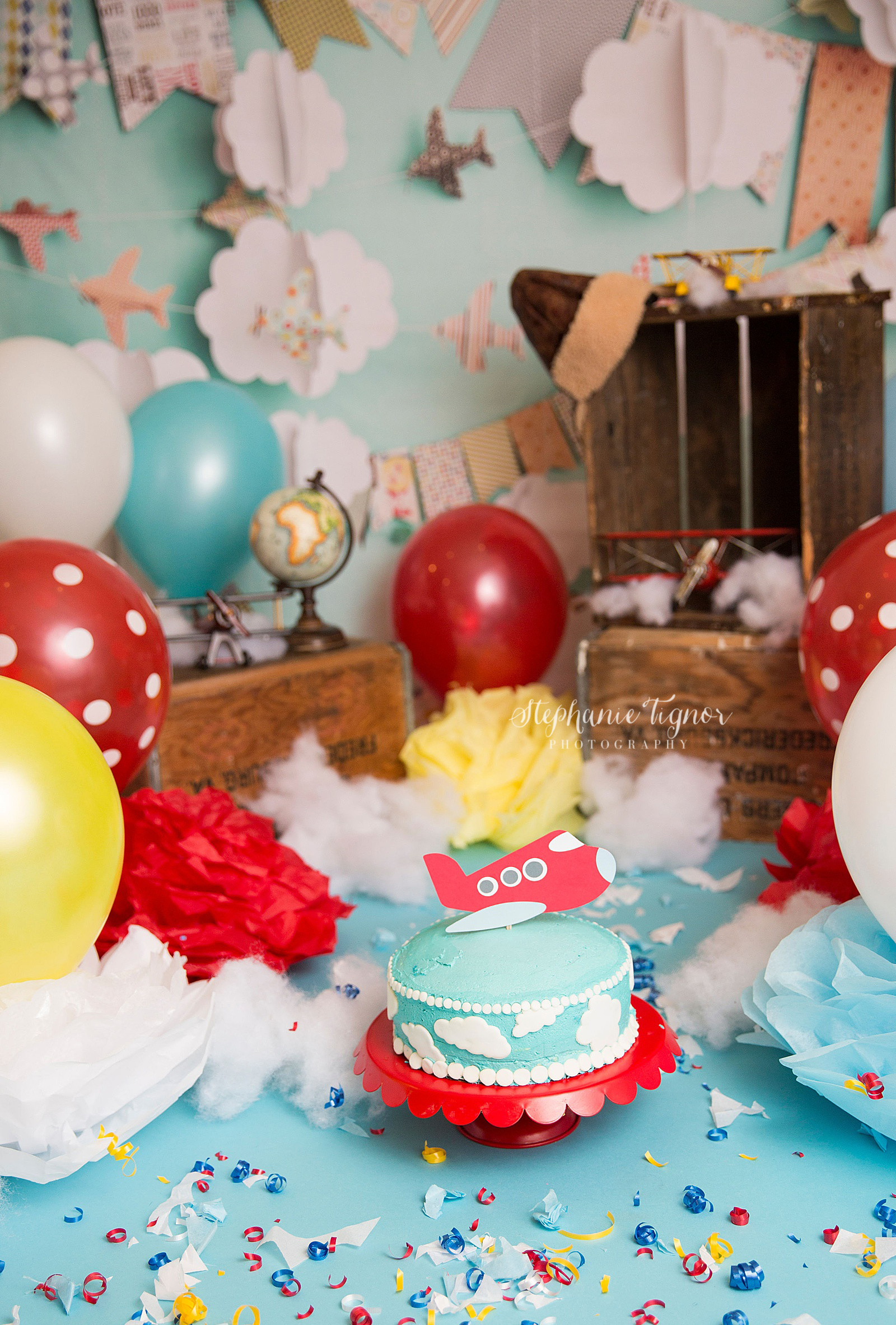Stephanie Tignor Photography | Fredericksburg VA Cake Smash Photographer | Warrenton VA Cake Smash Photographer | Stafford VA Cake Smash Photographer | Cake Smash Photographer | Travel airplane inspired cake smash
