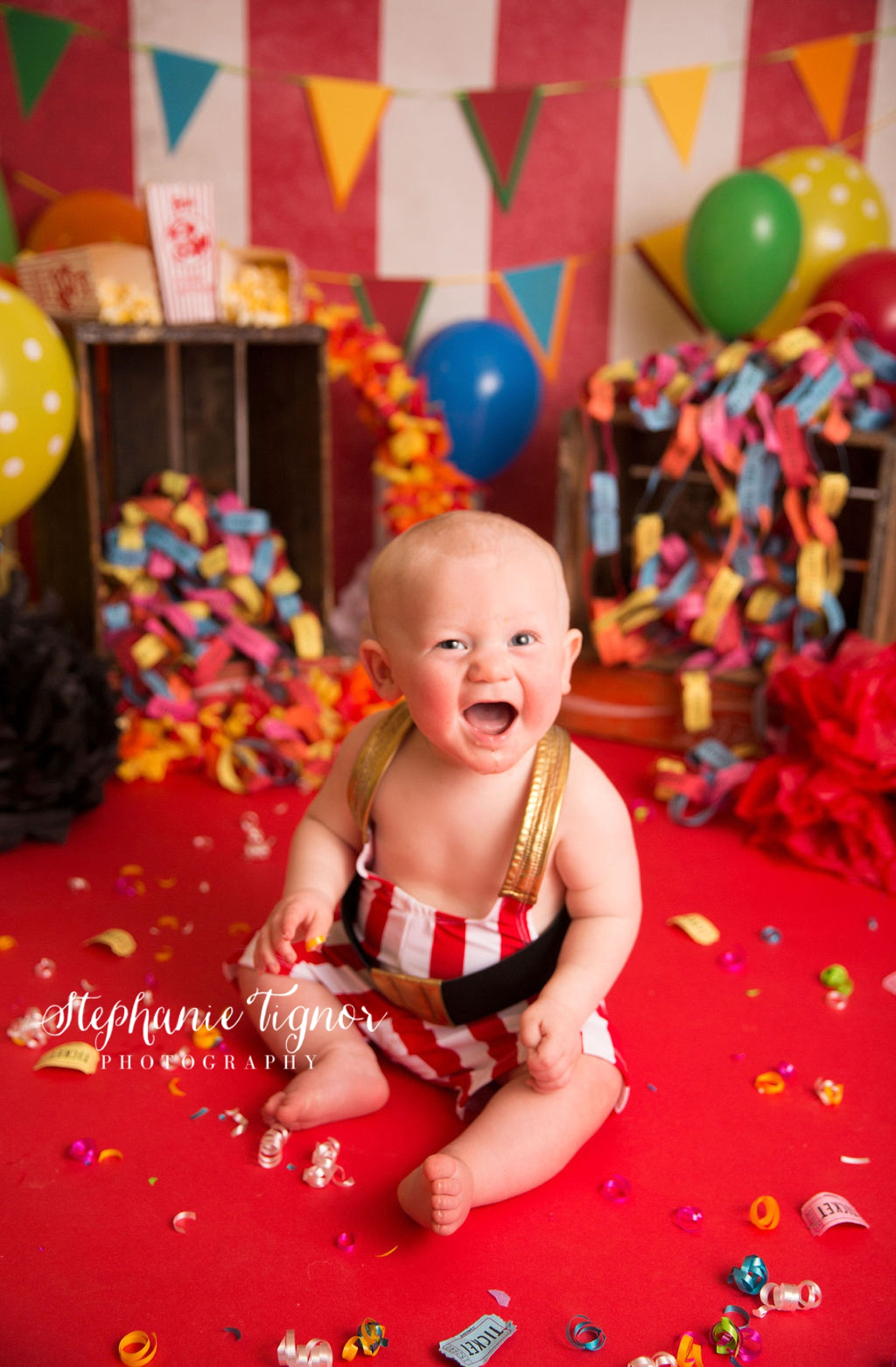 Stephanie Tignor Photography | Fredericksburg VA Cake Smash Photographer | Warrenton VA Cake Smash Photographer | Stafford VA Cake Smash Photographer | Cake Smash Photographer, Carnival cake smash, Carnival inspired, first birthday, first birthday photos, cake smash session