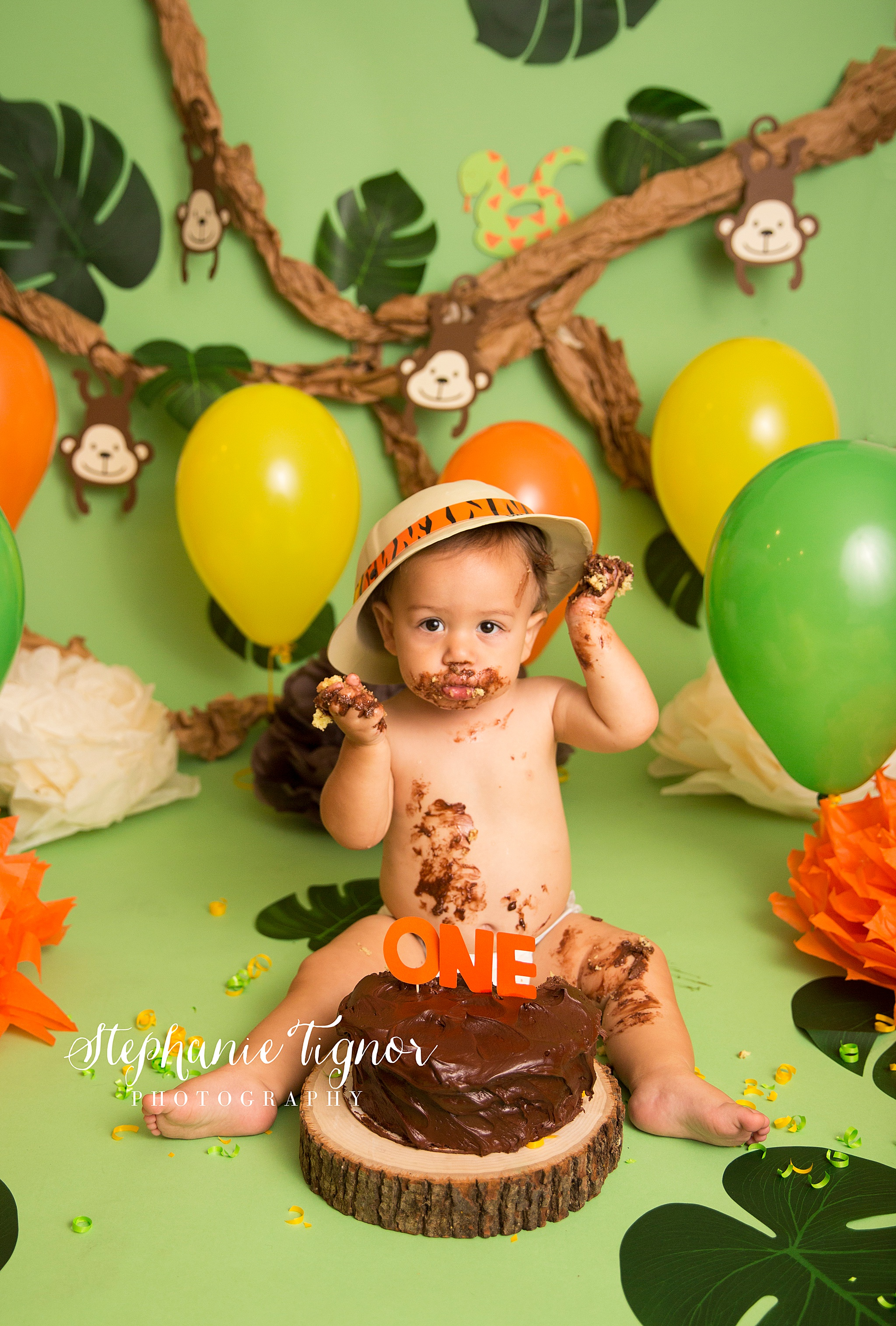 Stephanie Tignor Photography | Fredericksburg VA Cake Smash Photographer | Warrenton VA Cake Smash Photographer | Stafford VA Cake Smash Photographer | Cake Smash Photographer, Safari themed cake smash, Safari cake smash, jungle cake smash, bright green cake smash, ONE birthday, first birthday
