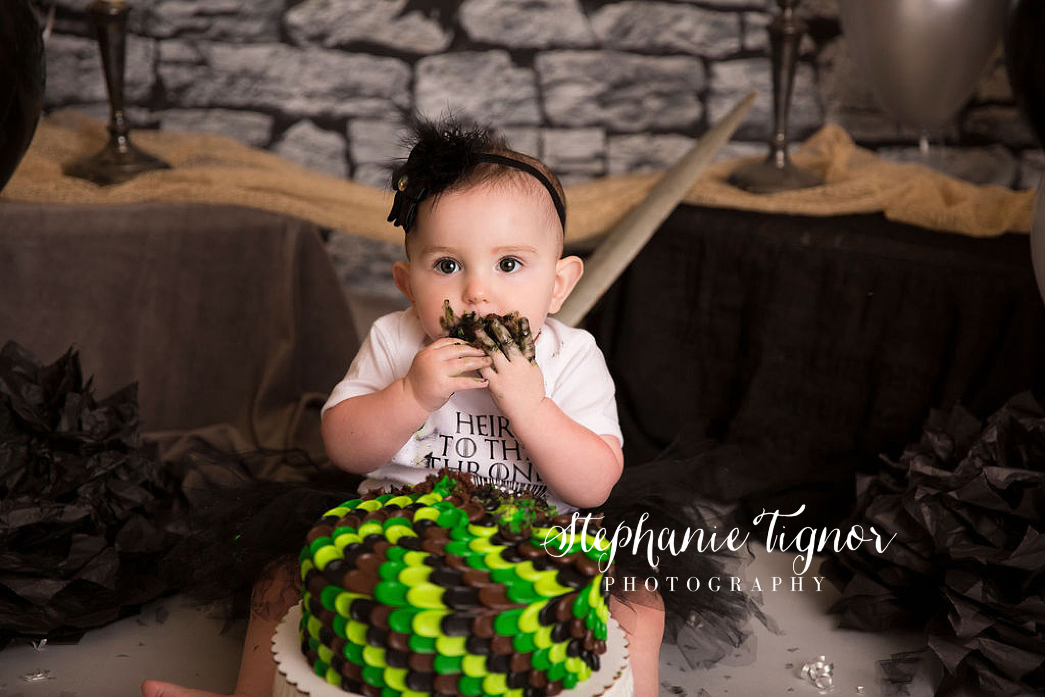 Stephanie Tignor Photography | Fredericksburg VA Cake Smash Photographer | Warrenton VA Cake Smash Photographer | Stafford VA Cake Smash Photographer | Cake Smash Photographer, Game of Thrones cake smash, GOT cake smash, Arya inspired cake smash, Game of Thrones inspired cake smash