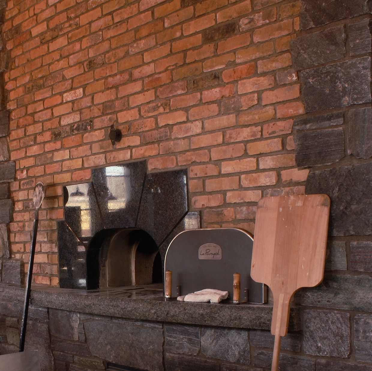 One of two twin Le Panyol ovens imported from France and built by Beaumont Stoneworks.