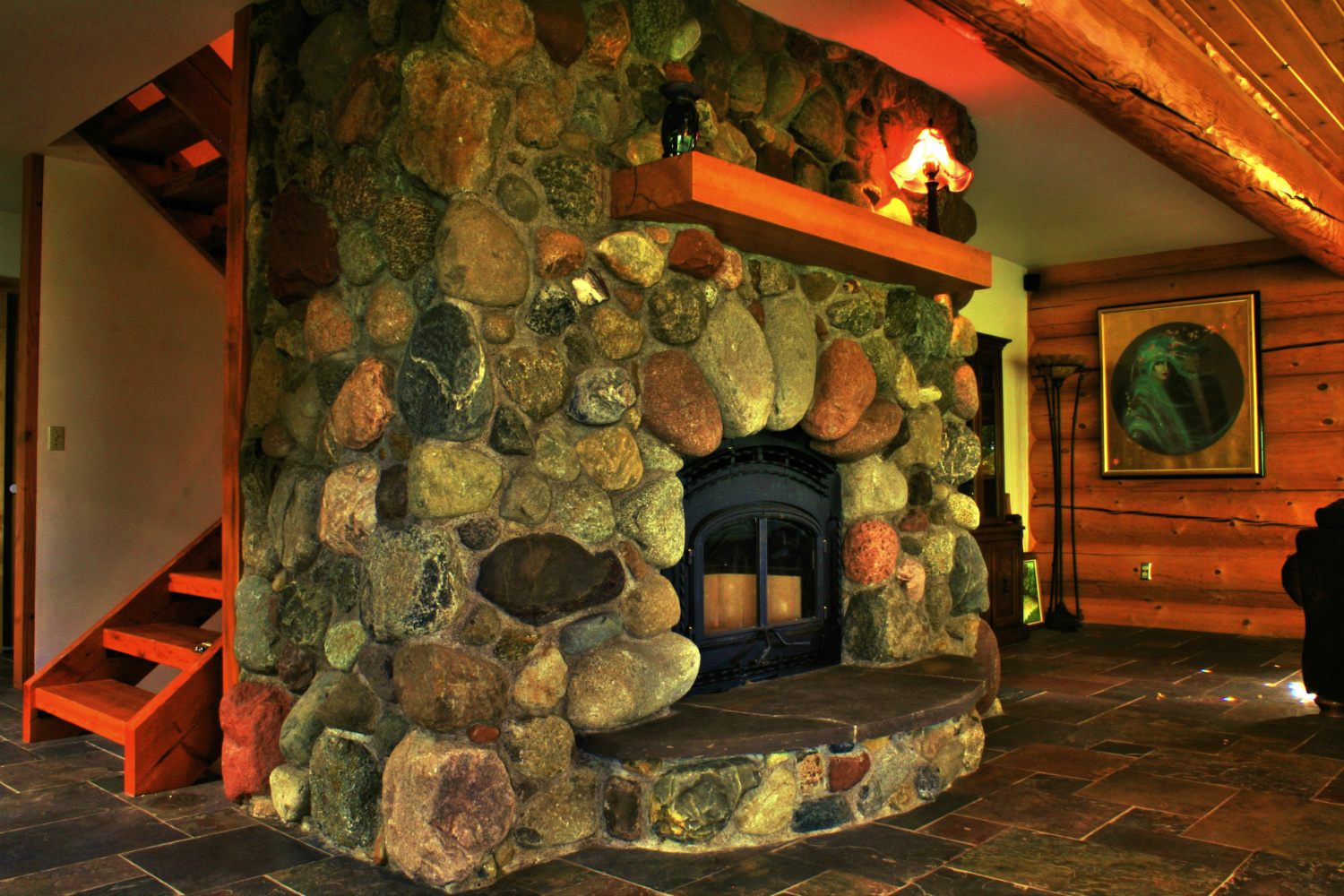 Field stone can be the perfect fit for a rustic home or cabin. Your stone mason designer can guide you on how heavy those stones should be for your setting.