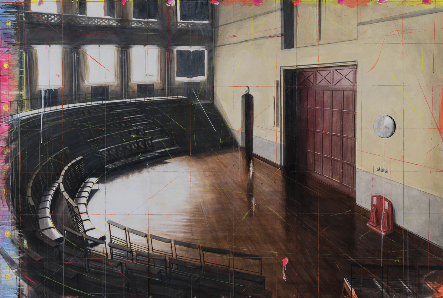 Lecture Theater/Liverpool, 2015, 4 x 6 feet, acrylic on panels