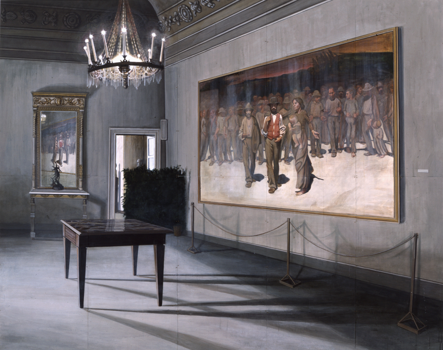 The Lessons of the Fourth Estate, 1990, 8 x 10 feet, acrylic on panels  Courtesy of the Wadsworth Atheneum Museum of Art